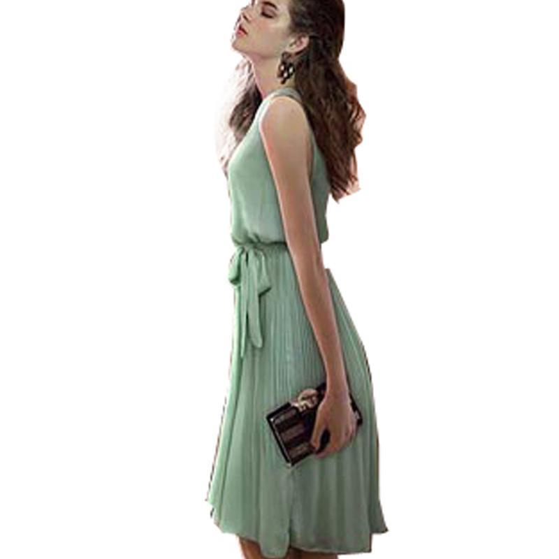 new product efeb5 baa14 Abiti classici senza maniche eleganti in chiffon plissettato da donna stile  estivo Abiti eleganti senza maniche E465