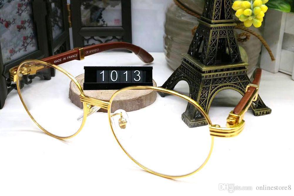 France Design Men Full Gold Frames Glasses Brown White Wooden