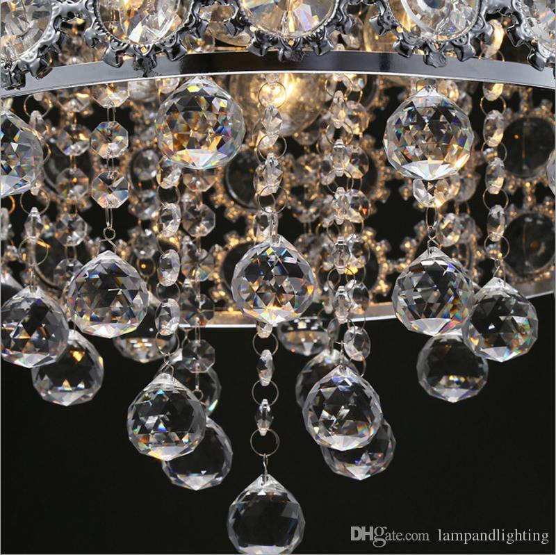 Modern Krom renk Yuvarlak Kristal Kolye lamba Asılı Avize Downlight Cilası Cristal Oturma Odası Yatak Odası Yemek Odası Için