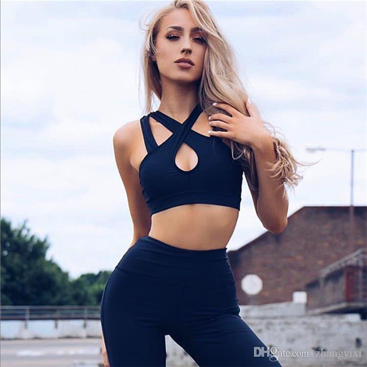 Wholesale Women Sexy Sport Running Breathable Yoga Cross Bras And Pants Fashion Sportswear Set