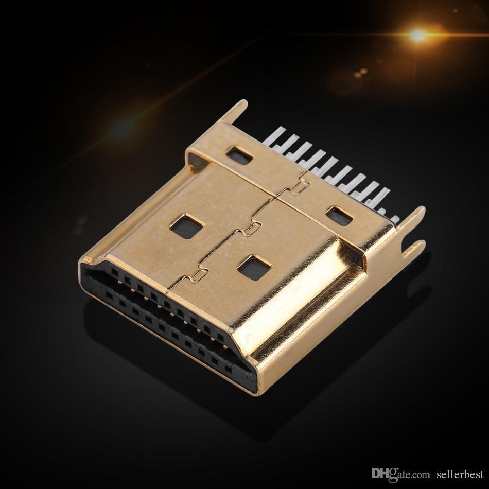 5 Unids / Packs Gold Tone Conectores Jack Macho HDMI 1.6mm Pitch 19 Pines PCB Wholesale Envío Gratis
