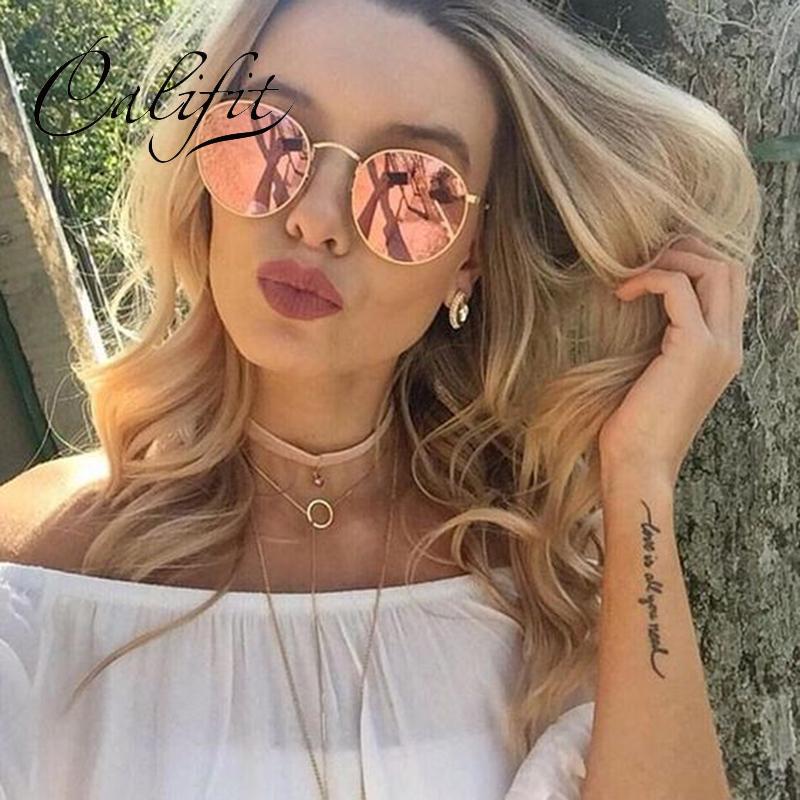 1a14c1fc68397 Compre CALIFICQUE Espelho Rosa Polarizada Óculos De Sol Para As Mulheres  Shades UV400 Rodada Vintage Óculos De Sol Feminino De Metal Ouro Gafas Oculos  2018 ...