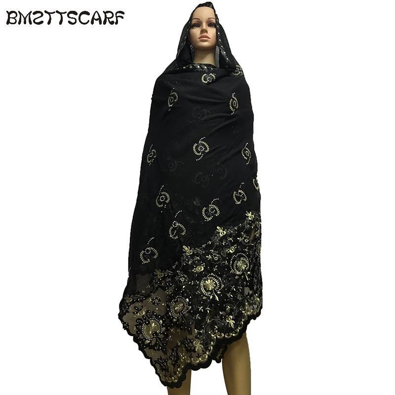 8b52540bbd6b Acheter Dernières Écharpes Africaines Écharpe Hijab Musulmane   Musulman  Broderie Coton Femmes Foulards BM524 De  54.74 Du Value333   DHgate.Com