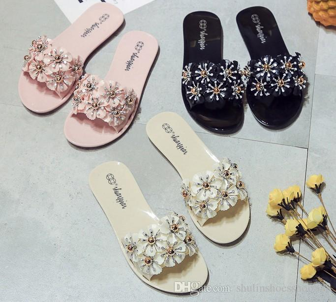 561369fd0 Summer New Women S Sandals Slippers Camellias Flip Flops Female Non Slip  Flowers Sandals Slippers Jelly Beach Sandals Wholesale COCO Cheap Footwear  Ladies ...