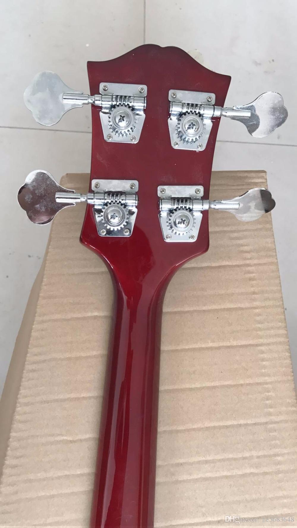 Frete Grátis! Atacado K.N Baixo Elétrico Guitarra 4 Cordas Baixo corpo de Mogno / Pescoço No Vermelho Do Vinho 170909