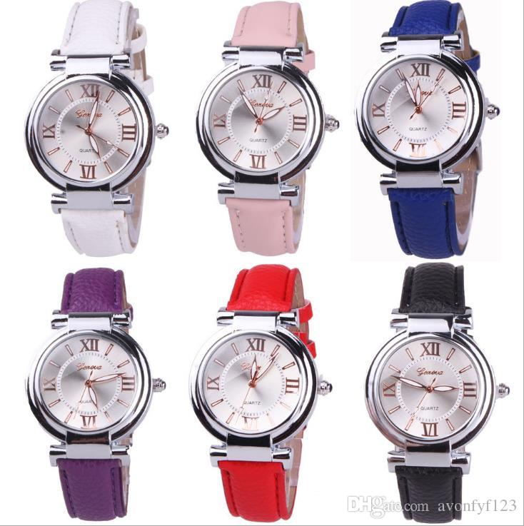 2018 unisex reloj de cuero ginebra diseño simple Torre Eiffel para mujer damas vestido de cuarzo casual estudiantes diamante reloj de pulsera a614