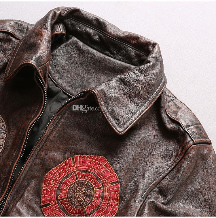 Ancienne première couche d'insigne d'ancre à revers en cuir véritable veste de cuir locomotive homme jeunesse jeune