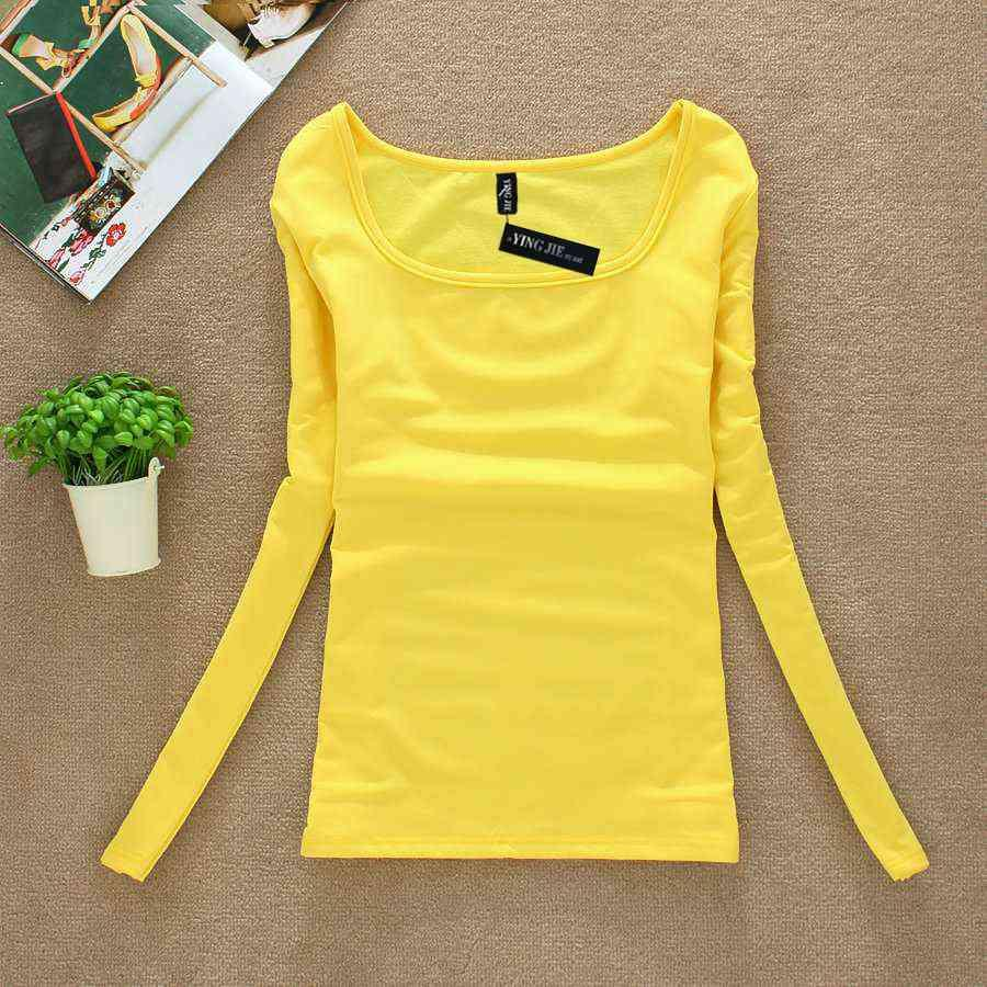 769bad37217e Nueva camiseta femenina de manga larga camisetas de invierno camisetas  amarillas para mujeres ropa interior térmica camisetas mujeres Camisetas ...