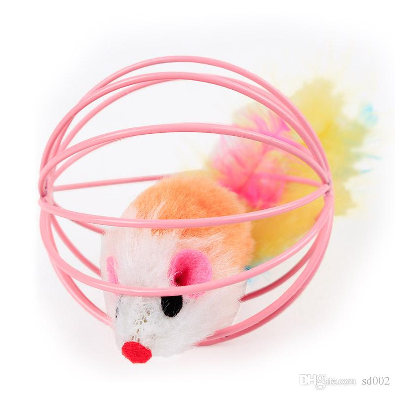 Lovely Fun Teasing Cat Toy Multi Color 6cm Mouse In Cage Ball Pet Toy 1 8tt C R
