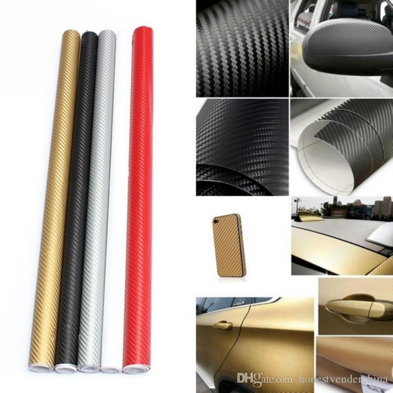 2X Top Selling 30*127cm Waterproof 3D Carbon Fiber Vinyl Wrap Sheet Roll Film Car Sticker Decal Sheet For Car Auto Vehicle Detail