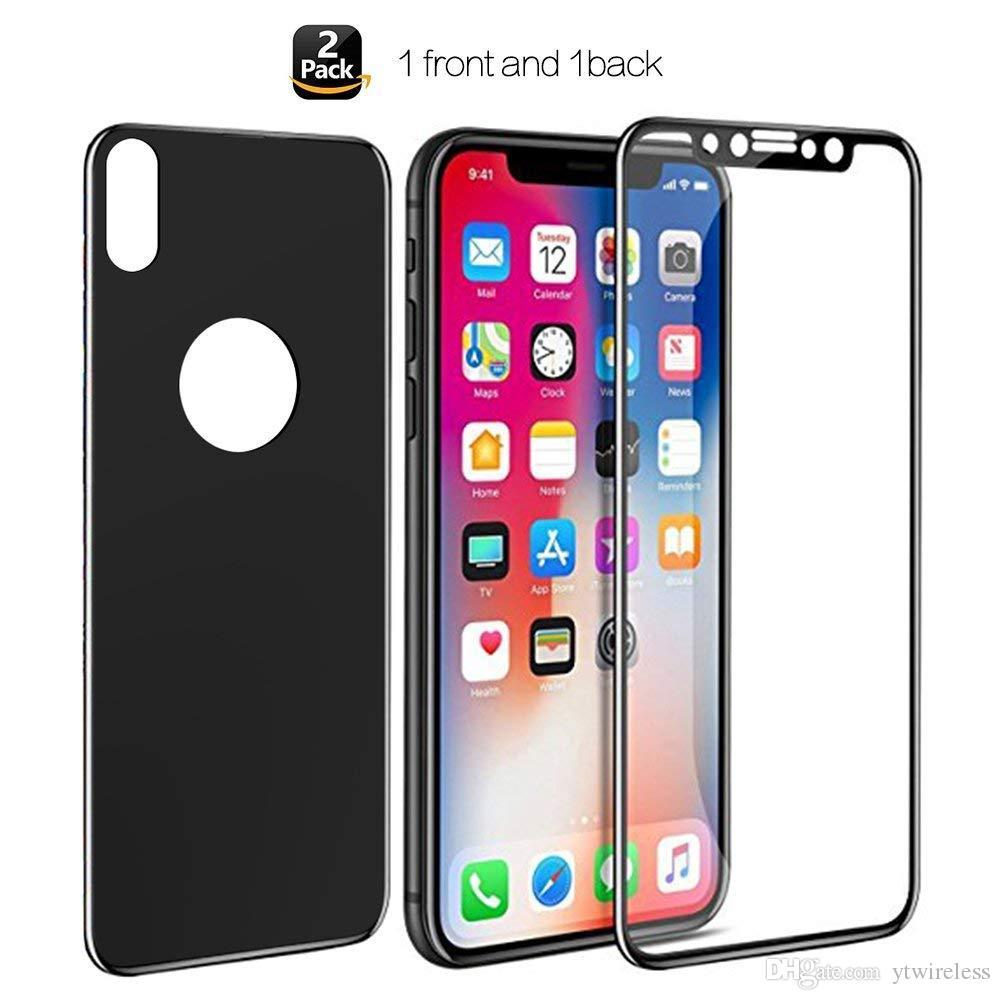 13c6842a1b1 Protectores IPhone 6 7 8 PLUS X XS XR MAX Frontal Trasera Cobertura  Completa Negro Blanco En Un Paquete Protector De Pantalla De Cristal  Templado ...
