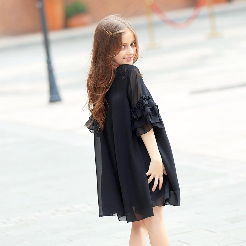 Big Girls Dress Summer Short-sleeve Flare Sleeve Chiffon Kids Girls Dress Teens Girls Vestidos Black Girl Dress 6 - 15 years