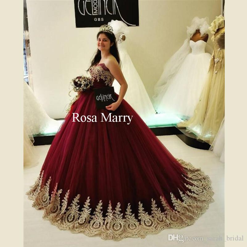 684f3b0cc262 Gold Lace Appliques Ball Gown Prom Dresses 2018 Corset Plus Size Red Arabic  Kaftan Dubai Long Puffy Tulle Girls Birthday Evening Party Gowns Elegant  Prom ...