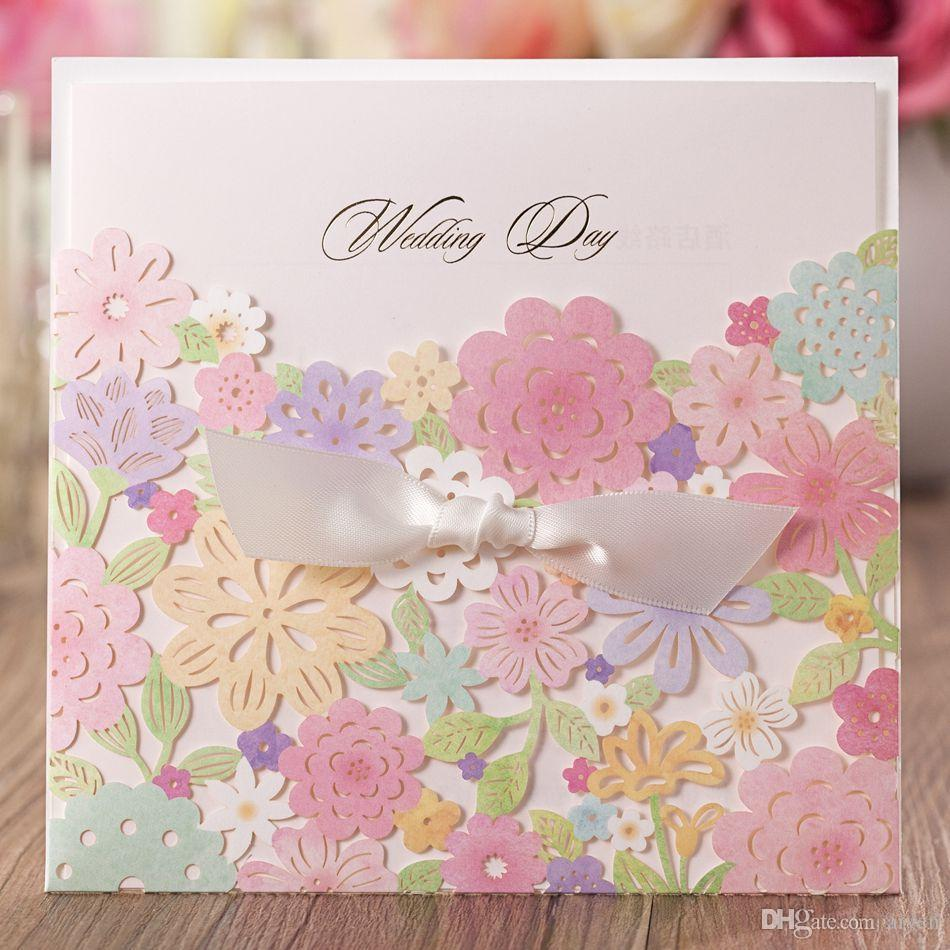 Wholesale Luxury Laser Cut Colorful Flower Lace Wedding Invitation Card Customized Printing Free Online Greetings Cards Printable Birthday From