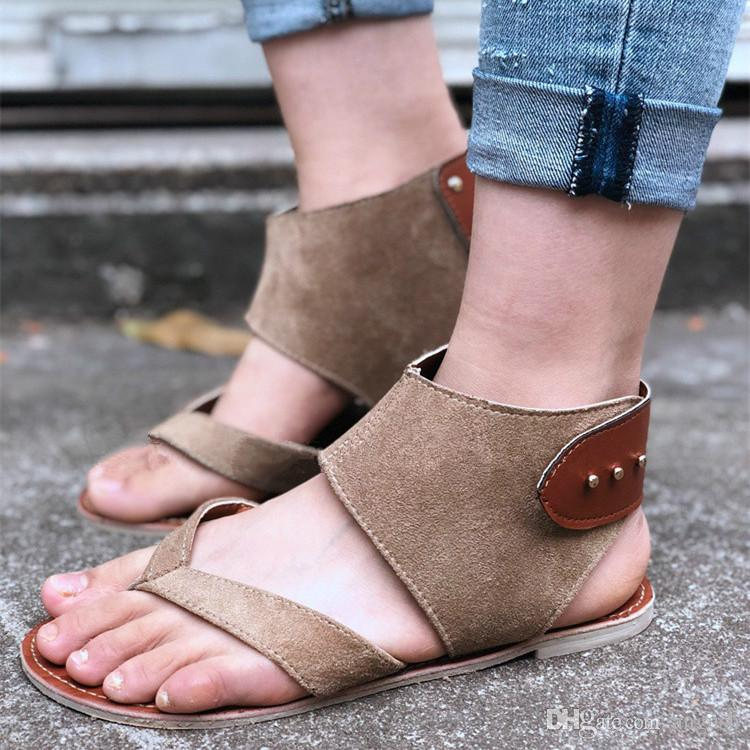 4a14c44bb9676 ANGUSH Women s Summer Sandals Plus Size Breathable Flats Shoes Khaki ...