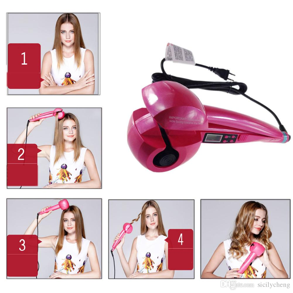 Wholesale high Quality Automatic Hair Curler LCD Display Hair Care Styling Tools Heating Iron Stick Ceramic Magic Hair Curling Wand