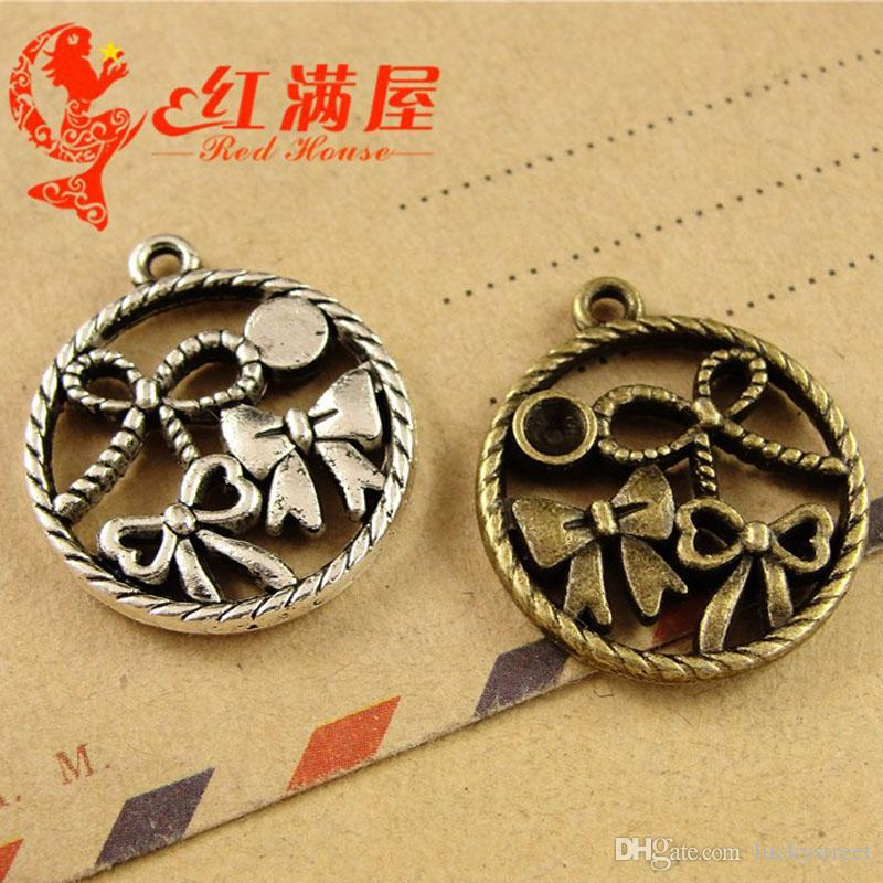 A3915 11*22MM Antique Bronze Butterfly knot charms handmade DIY jewelry wholesale South Korea, tibetan silver round bowknot pendants