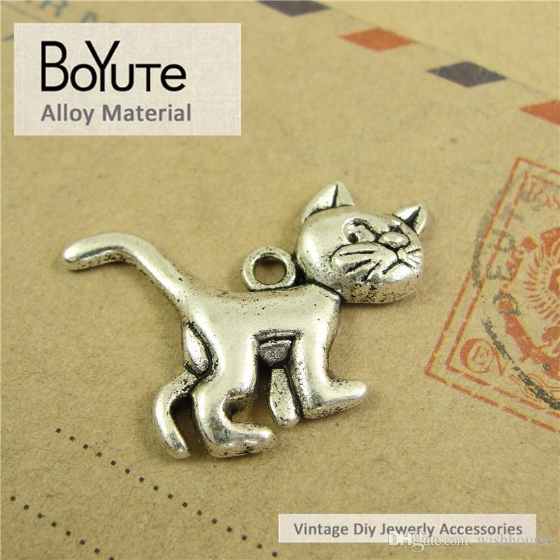 BoYuTe 50 Teile / los 20 * 30 MM Vintage Zubehör Teile Legierung Material Antike Bronze Silber Katze Charms für Schmuck Machen Diy Handmade