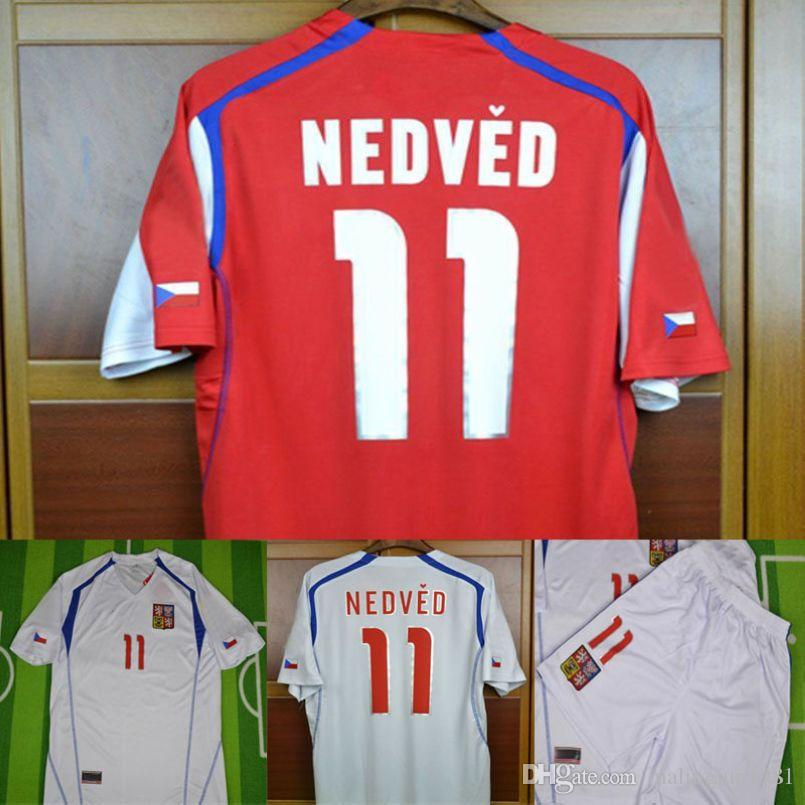 new arrival 2fa5e 6a22d 04 Czech Republic Retro Soccer Jersey Pavel Nedved Champions Mens Football  Shirts 2004 Czech Vintage Classic Uniforms Kit Camiseta