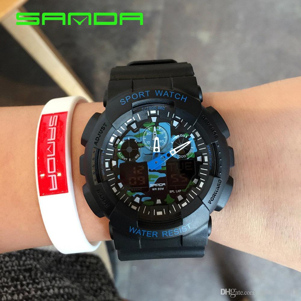 2018 Top Marke Sanda Analog Digital Uhr Männer Männlichen Armee Militär Sport Uhren Frauen Wasserdicht Casual Kleid Uhr G Neue Schock Gute QualitäT Digitale Uhren
