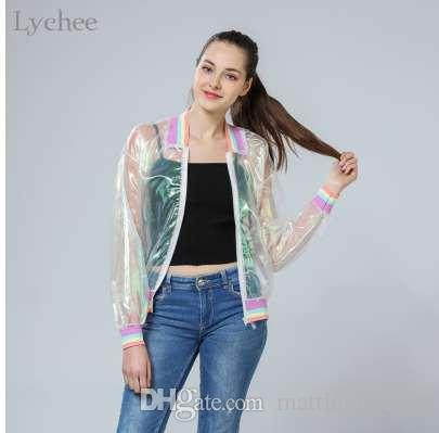 Lychee Harajuku Summer Women Jacket Laser Rainbow Symphony Hologram Women  Coat Iridescent Transparent Bomber Jacket Sunproof Red Leather Jacket Black  ... e73ec1907a1c