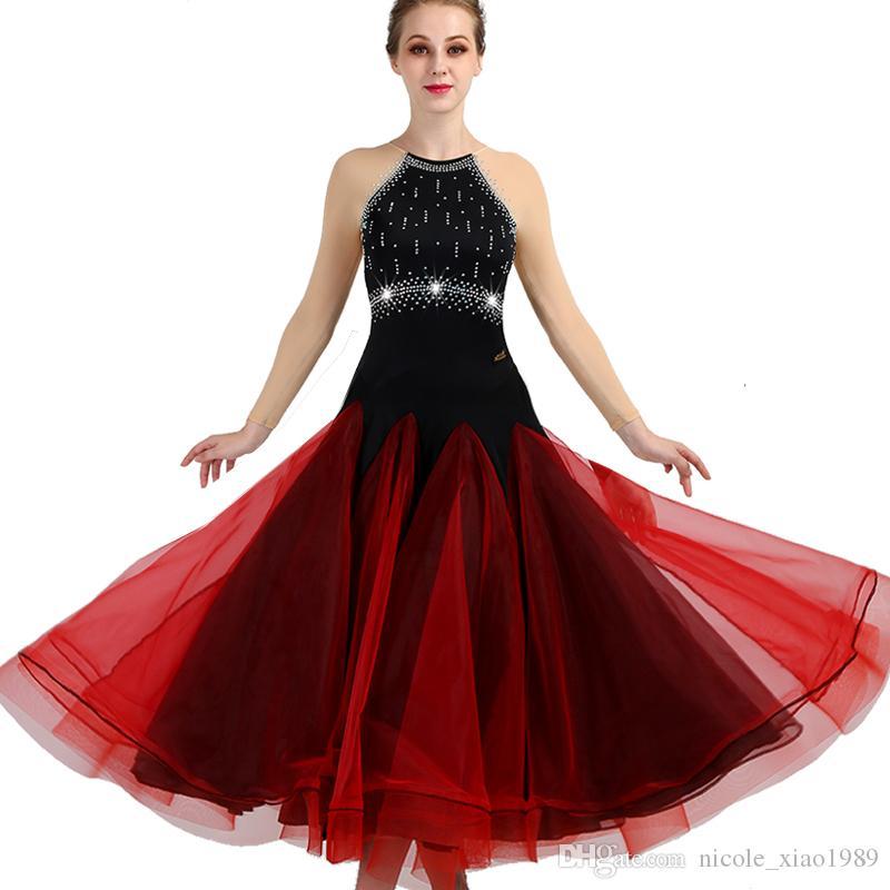 89475649719 Acheter Nouvel Adulte   Femmes Robe De Danse De Salon Dames Valse Moderne  Valse Concours De Danse Standard Robe Noir   Rouge Strass Robe À Manches  Longues ...