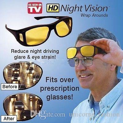e72cbb2c9598 HD Vision Wrap Arounds Night Vision Driving Sunglasses Men Wrap Around  Glasses Dark Driving UV400 Protective Goggles Anti Glare CNY17 Prescription  ...
