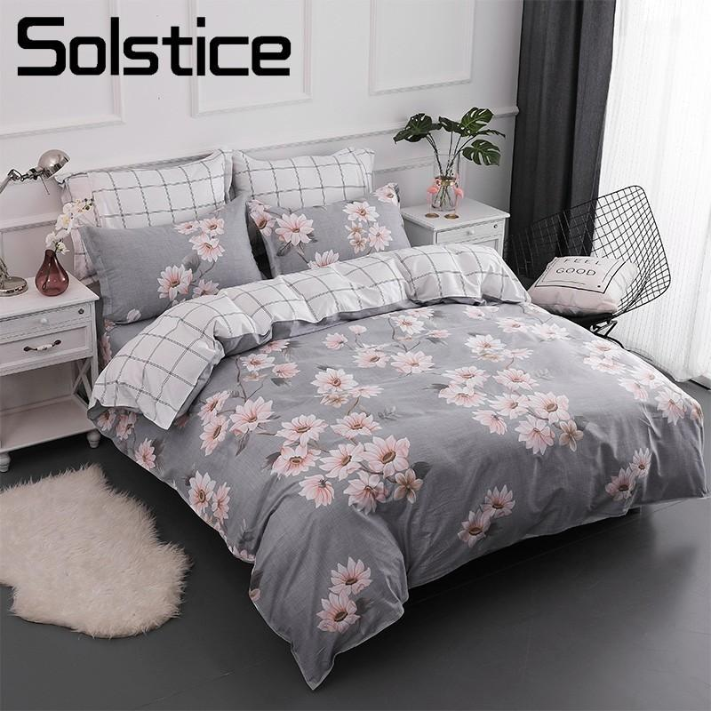 Solstice Home Textile Queen Twin Bedding Sets 100% Cotton Girl Kid Teen  Linen Flower Gray Duvet Quilt Cover Pillowcase Bed Sheet Duvets On Sale  Comforters ...