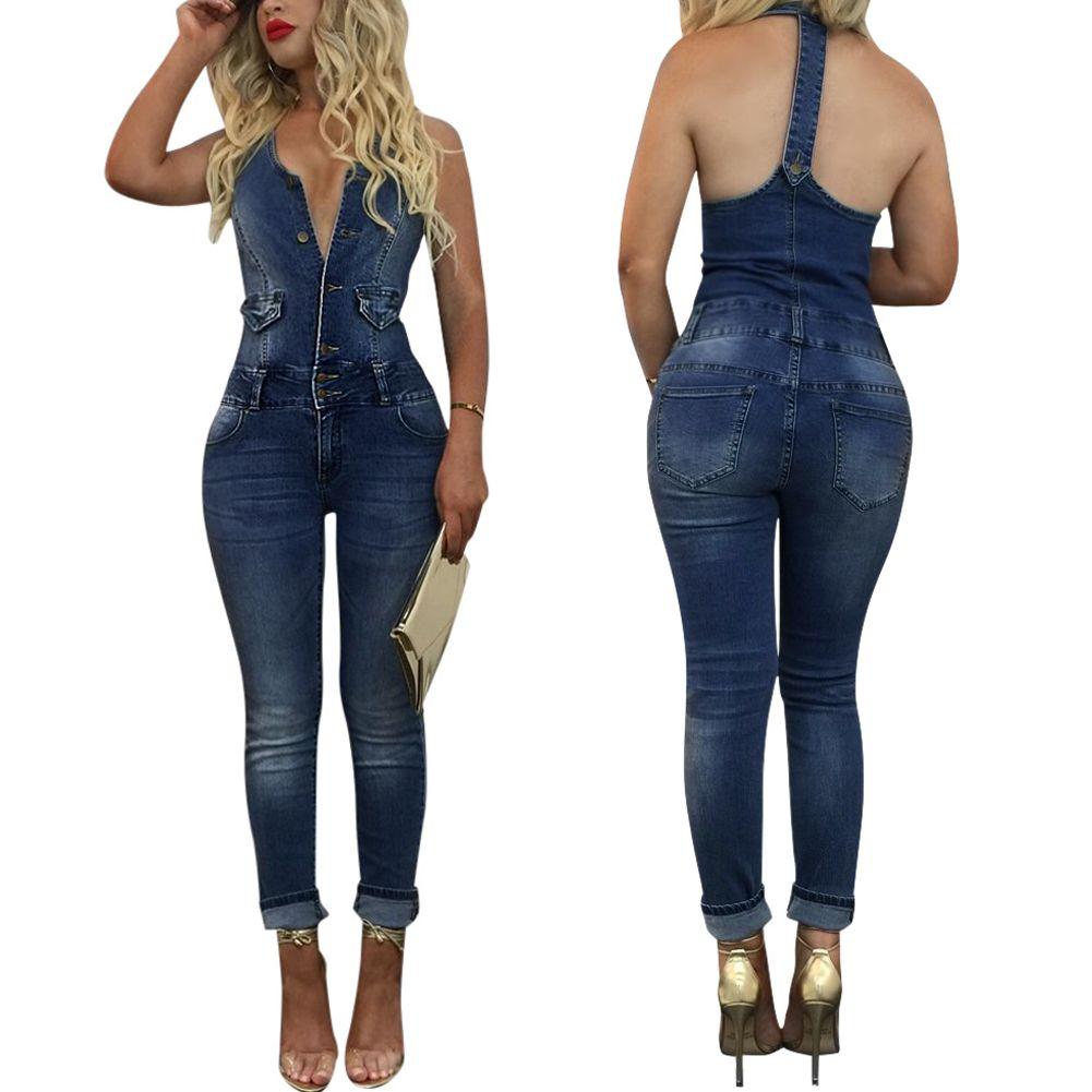 4fe681a97223 2019 Fashion Women Sexy Halter Neck Sleeveless Denim Jumpsuit Slim Backless Denim  Romper Overalls Jeans Jumpsuit From Eventswedding