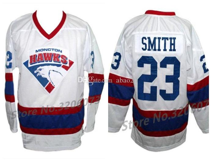 Jersey Doug Mens Number Jerseys And Hockey Any Hawks 23 Ice Moncton Smith Stitched Custom Retro Name Classic