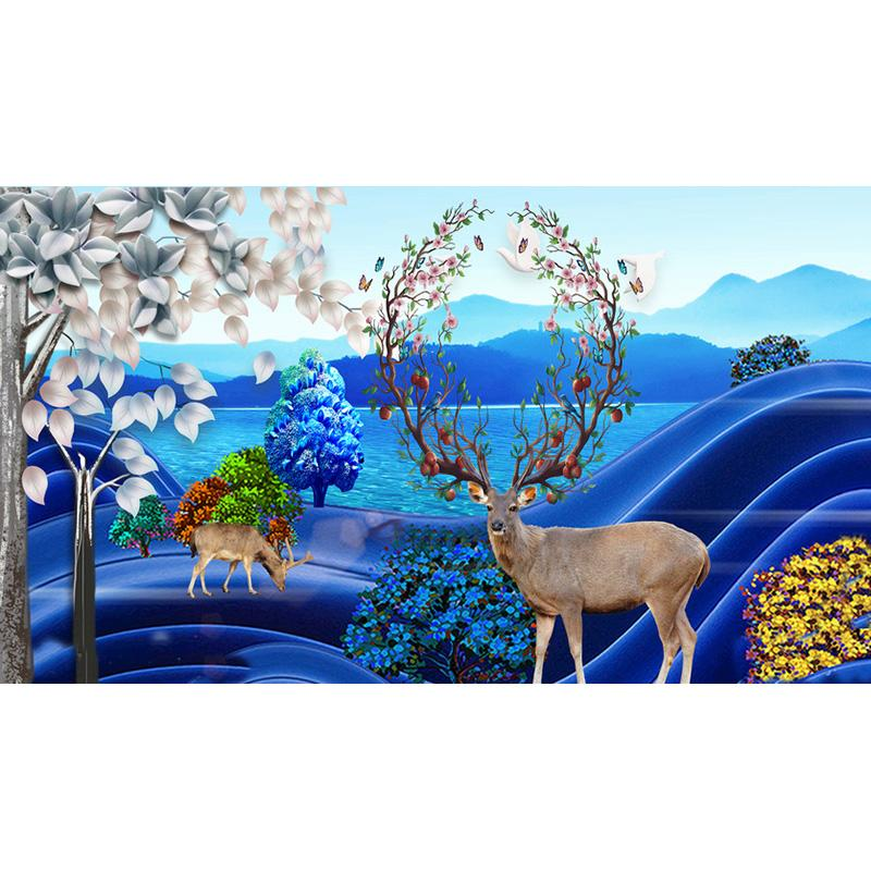 Fortune Deer 5D Full Square Diy Diamond Painting Cross Stitch Pattern Diamond Embroidery Blossoming Animals Scenery Room Decor