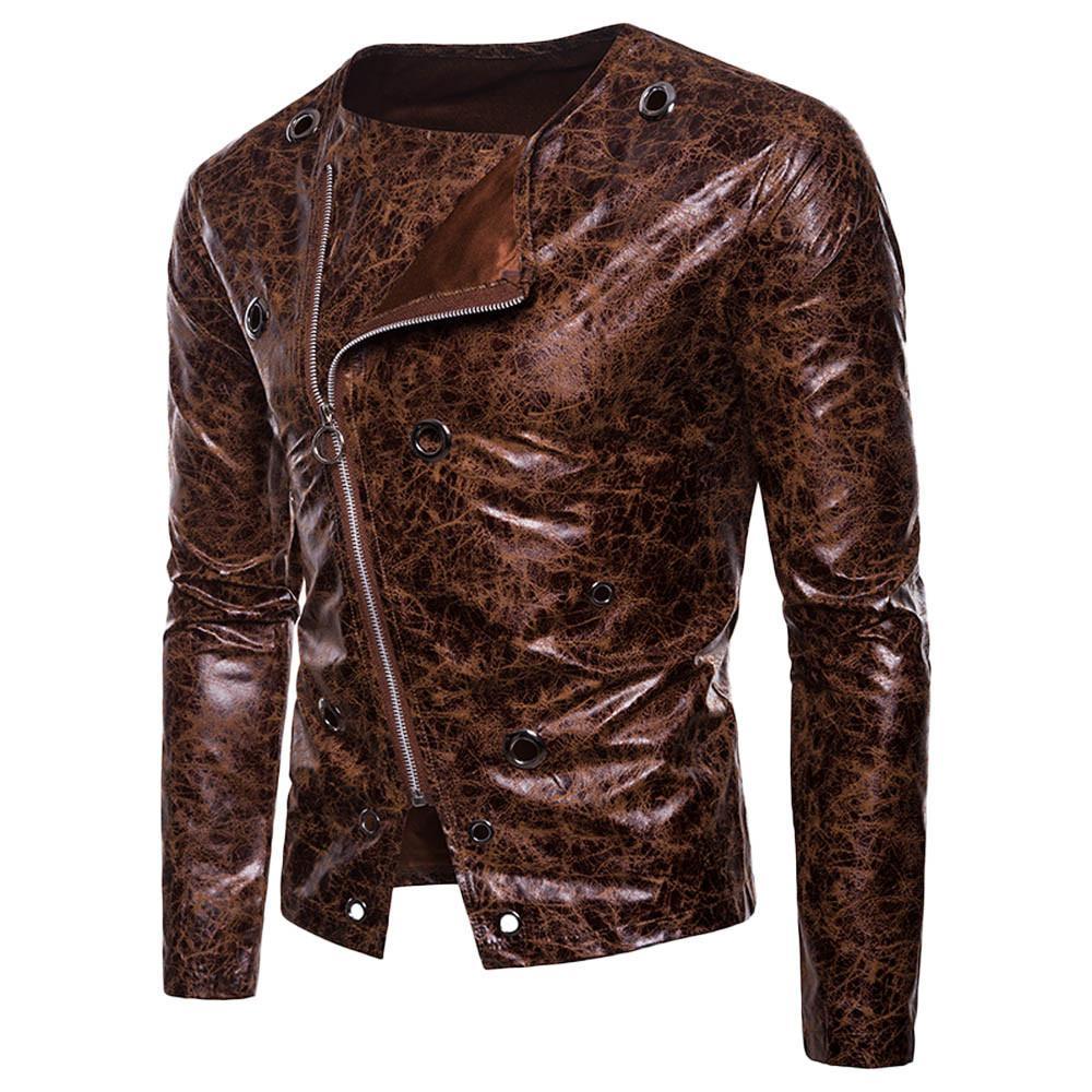 88a81fef3 FeiTong Leather Jacket Men Coat Streetwear Mens Clothing 2018 Fashion  Autumn Long Sleeve Dark Grain Diagonal zipper Leather Coat