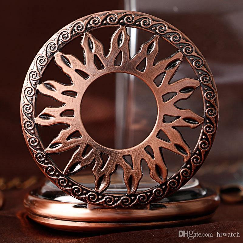 Serin Steampunk Güneş Desen Hollow Mekanik Kendinden Rüzgar Cebi Unixes İskelet Oyma Zinciri Ile Fob Saatler