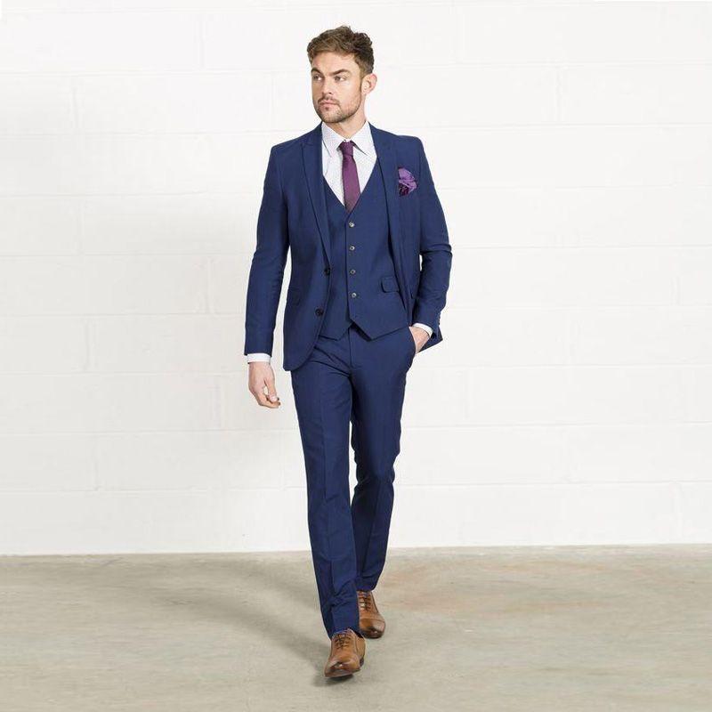 Compre 3 Piezas Slim Fit Hombres Trajes Azul Marino Mens Trajes De Boda  Para Novio Esmoquin Royal Blue Bridevroom Blazers Boda Formal Chaquetas De  Padrinos ... a6537e54101