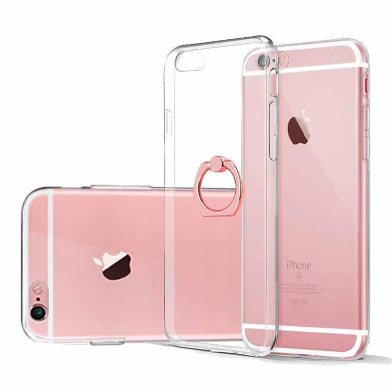 the latest b437e 4922d Ultra thin Soft Transparent Case Cover With Ring Holder For iPhone X Xr Xs  Max 8 7 6 6S Plus Phone Clear Cases
