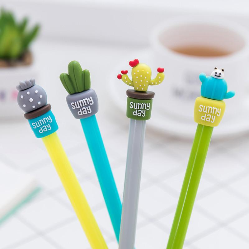 Gel Pen Stationery Store Kawaii Funny Escritorio Stationary School Tool Kids Thing Item Shop korean Creative Cactus Plant Cute
