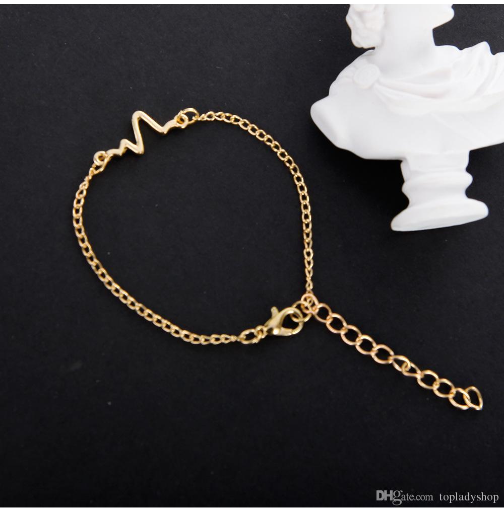 Des explosions bijoux simple personnalité design ECG bracelet de foudre couple fréquence de fréquence cardiaque bracelet en gros Livraison gratuite