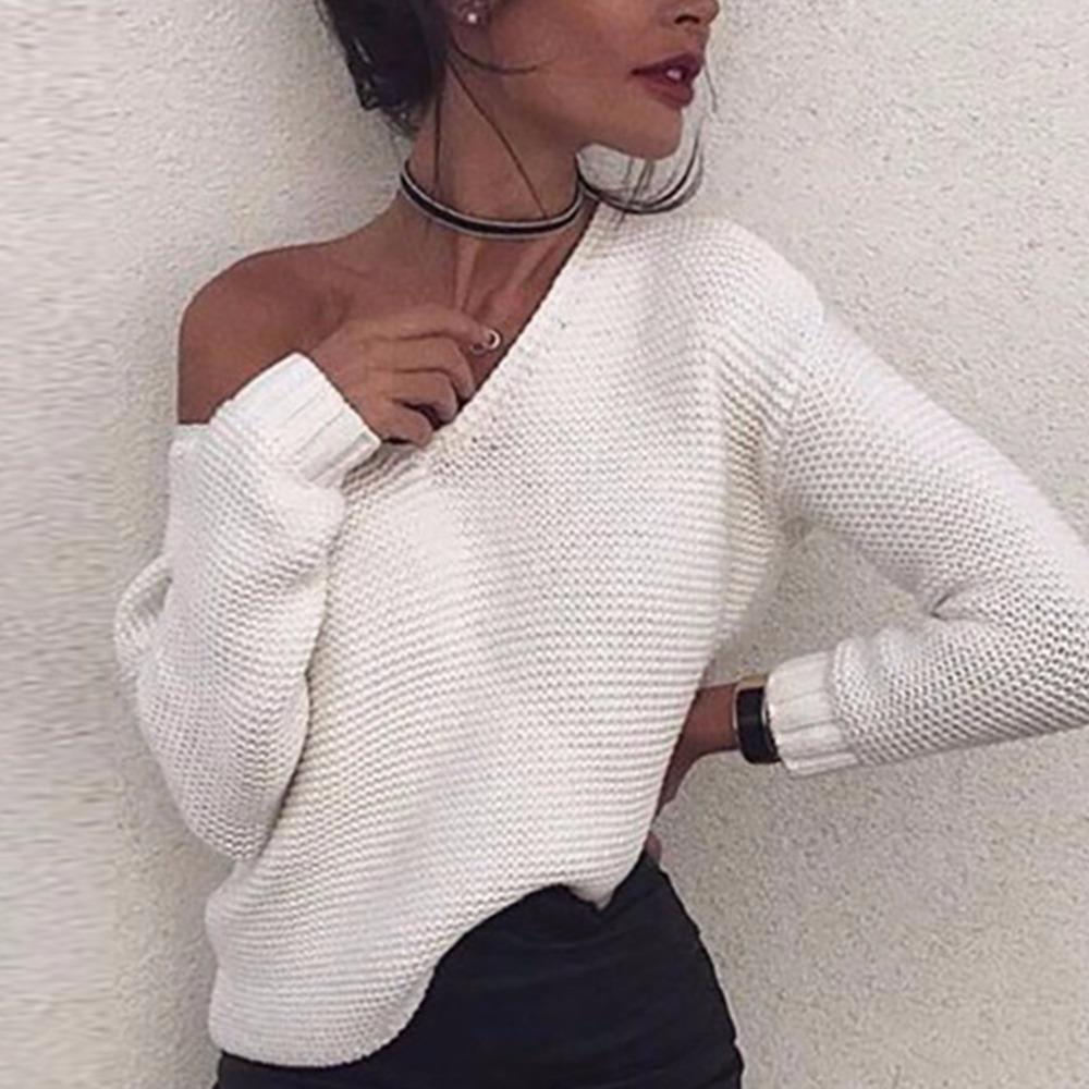 da548a91e14 Women Lady Girl White Solid Long Sleeve V Neck Crop Knit Sweater Tops  Pullover Jumper Casual Soft New Brand THINKTHENDO