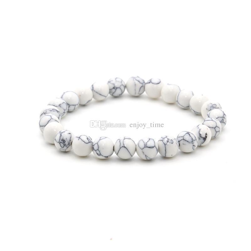8mm moda branco verde turquesa pedra de lava pulseira para mulheres dos homens handmade charme pulseiras yoga jóias