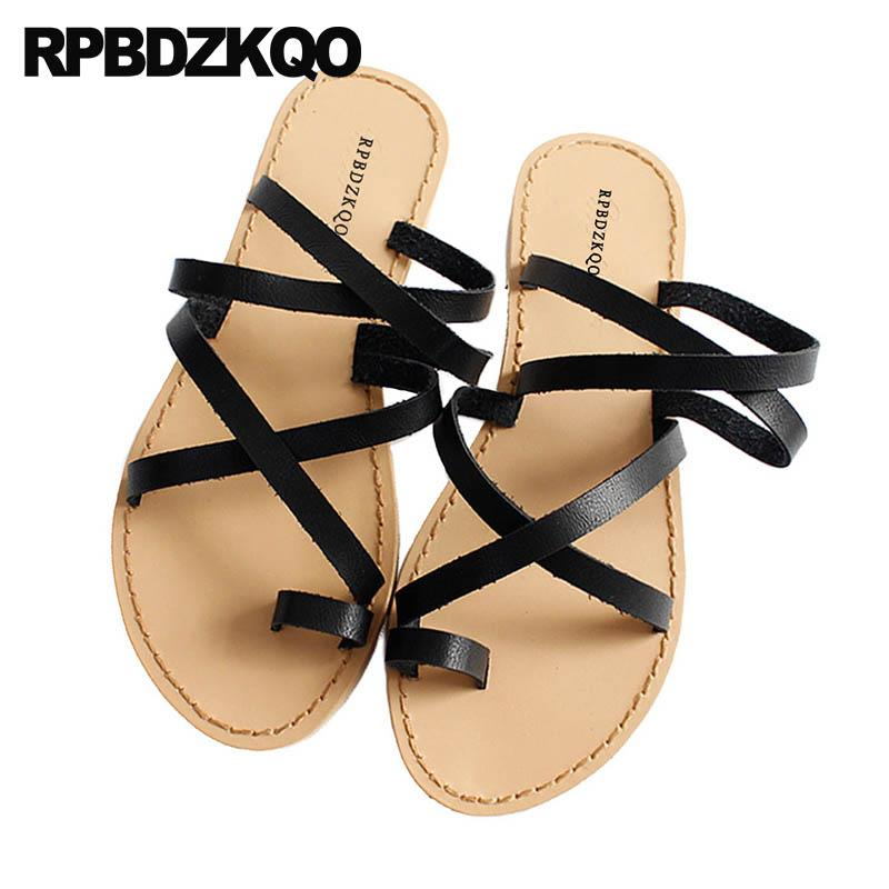 cfaa3f257f9027 Beach Strappy Shoes Strap Slides Cage Holiday Gladiator Slip On Toe Ring  Designer Brown Women Sandals Flat Summer 2018 Black Chaco Sandals Jack  Rogers ...