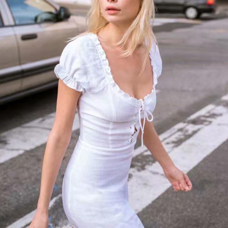 9a936faad318 Acquista Abito Con Lacci Davanti Vestito Da Donna Elegante Vintage Mini Abito  Da Spiaggia Bianco Suqre Colletto Casual Abiti Da Festa Coreano Moda  Vestido A ...