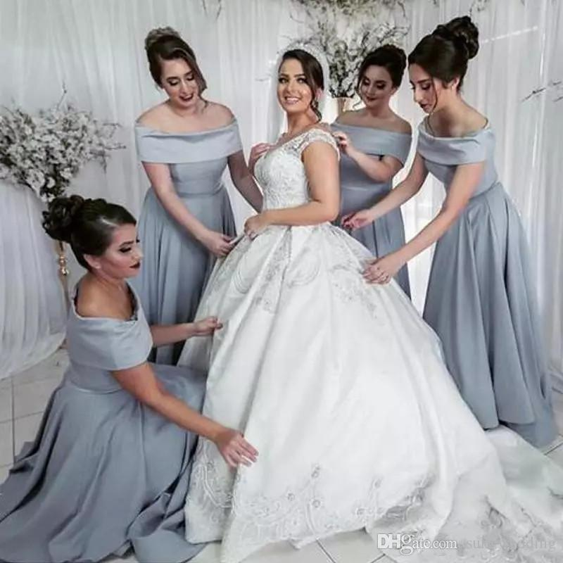 Elegant Stain Bridesmaid Dresses Silver Gray Long Off Shoulder Ankle ... 182541c1c375