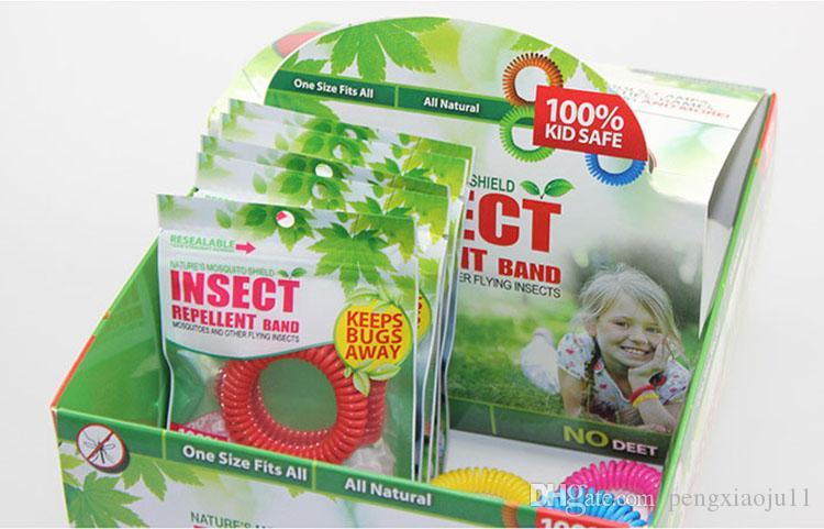 Em estoque Anti-mosquito Pulseira Mosquito Repelente Telefone Anel Verão Natural Óleos Vegetais Strap Elastic Espiral Mão Pulso Livre DHL