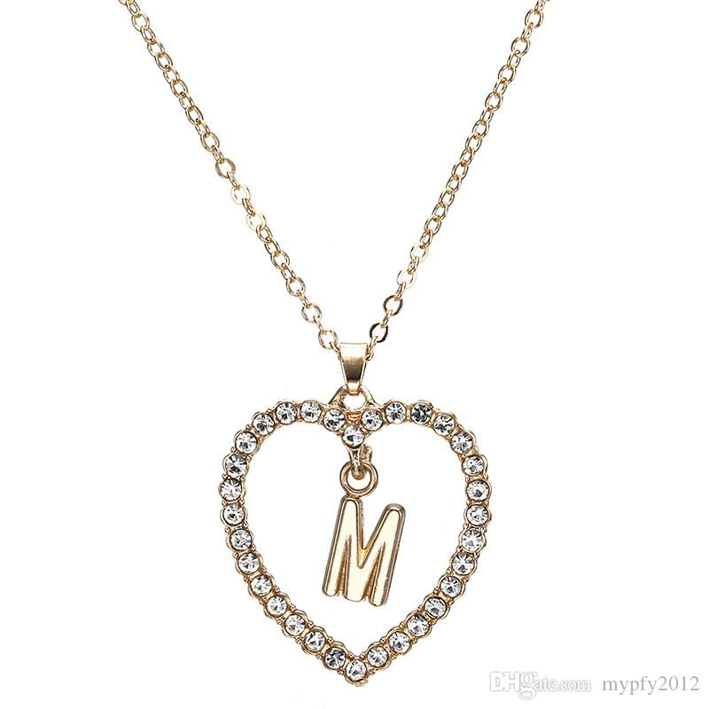 New Gold Plated Statement Necklace Love Heart Necklaces&Pendants Shining Rhinestone Heart Letter Necklace Bijoux For Women Party Gifts