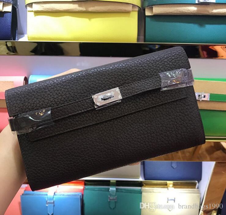 2018 العلامة التجارية الكبيرة حاملي بطاقة محافظ طويل محفظة حقائب جواز السفر مع قفل أزياء جلد البقر الحقيقي محفظة 24 الألوان لسيدة امرأة