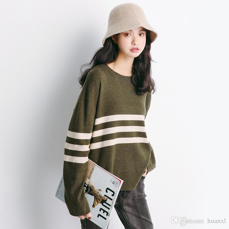 52e3ea55bf26d4 2019 Knit Women S Wear The New Two Color Striped Japanese Version Of The  Korean Loose Sweater Blouse For Fall 2018 From Huanxl