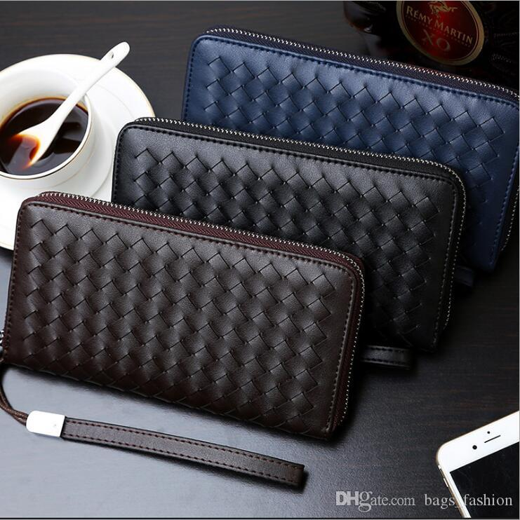 08c70fd7f13 Men's Genuine Leather Wallet Male Fashion Large capacity handbag Clutch  Wallets Business Style Long Design half Weaving Pattern Purse
