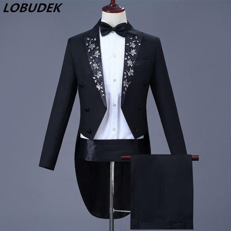 c2a72193776f1 Men's Swallowtail Costume Applique Sequins Tailcoat Pants Suit Club  Magician Stage Outfit Prom Singer Chorus Dress Black Blazer Host Clothes