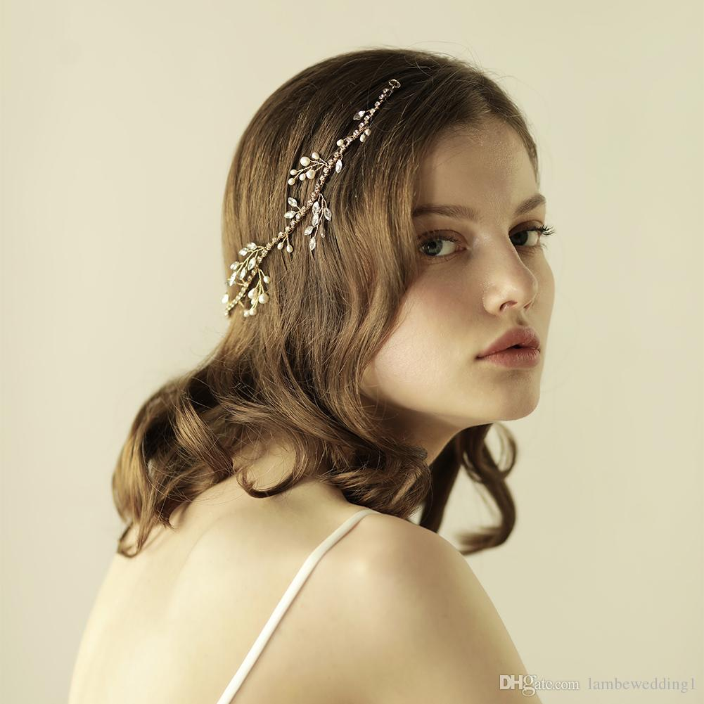 Best Sale Rhinestone Chain Wedding Hair Vine Marquise Freshwater Pearls Hair Adornments Handmade Bridal Headpieces Tiaras Bridal Accessories