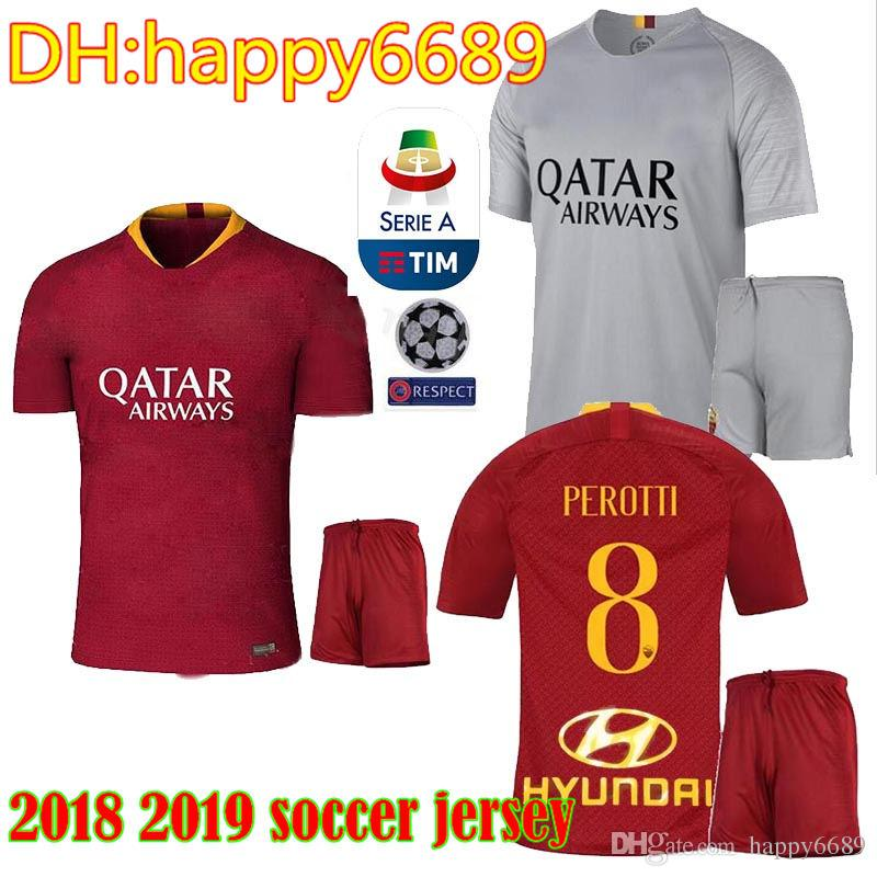 2019 2018 2019 Rome Adult Kit Home Away Third Soccer Jerseys Totti Dzeko  Nainggolan Futbol Camisa As Football Camisetas Shirt Kit Maillot Roma From  ... 4117c34b11e